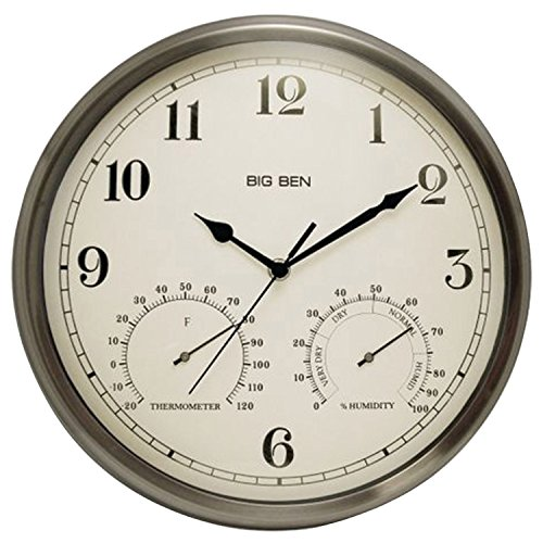 壁掛け時計 インテリア インテリア 海外モデル アメリカ 49832 Westclox 49832 Indoor/Outdoor Clock with Temperature & Humidity Gauges Silver壁掛け時計 インテリア インテリア 海外モデル アメリカ 49832