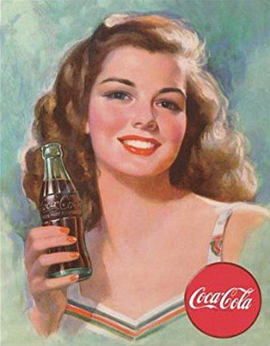 壁飾り インテリア タペストリー 壁掛けオブジェ 海外デザイン 【送料無料】Coca Cola Coke 1940s Brunette Beauty Tin Sign 13 x 16in壁飾り インテリア タペストリー 壁掛けオブジェ 海外デザイン