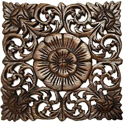 壁飾り インテリア タペストリー 壁掛けオブジェ 海外デザイン 【送料無料】Asiana Home Decor Rustic Wall Art- Wood Plaque Oriental Carved Lotus in Brown Finish, Size 12