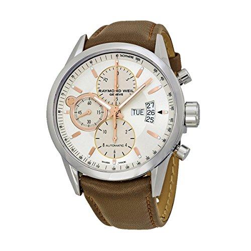 レイモンドウィル 腕時計 メンズ スイスの高級腕時計 7730-STC-65025 Raymond Weil Men's Freelancer Stainless Steel Swiss-Automatic Watch with Leather Strap, Silver, 20 (Model: 7730-STC-6502レイモンドウィル 腕時計 メンズ スイスの高級腕時計 7730-STC-65025