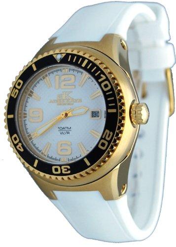 腕時計 アディーケイ レディース アメリカ LA AK2230SS 【送料無料】Adee Kaye #2230SS-LG Women's Neptune Collection Stainless Steel Silicone Band White and Gold Watch腕時計 アディーケイ レディース アメリカ LA AK2230SS