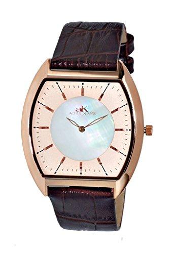 アディーケイ 腕時計 メンズ アメリカ LA AK2200-MRGWT Adee Kaye AK2200 Men's Slim Tonneau Framework Watch-Rose Tone/Salmon White dialアディーケイ 腕時計 メンズ アメリカ LA AK2200-MRGWT