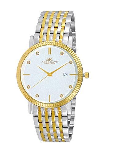 腕時計 アディーケイ メンズ アメリカ LA AK4801-MTTG 【送料無料】Mens Swiss Stainless Steel & Crystal Watch with 9 Column Link Bracelet- Silver & Gold Tone/Silver dial腕時計 アディーケイ メンズ アメリカ LA AK4801-MTTG