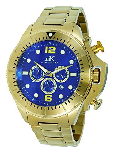 腕時計 アディーケイ メンズ アメリカ LA 【送料無料】Adee Kaye Mens Sports SS Chronograph Watch with Crown Protector-Gold Tone/Blue dial腕時計 アディーケイ メンズ アメリカ LA
