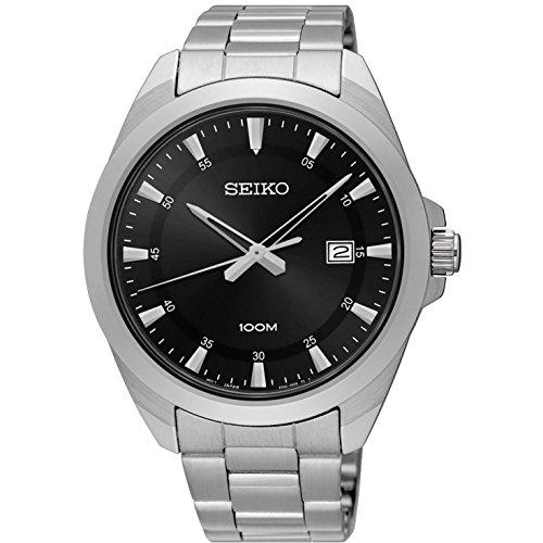 セイコー 腕時計 メンズ SUR209 【送料無料】Seiko Men's 42mm Steel Bracelet & Case Hardlex Crystal Quartz Black Dial Analog Watch SUR209セイコー 腕時計 メンズ SUR209