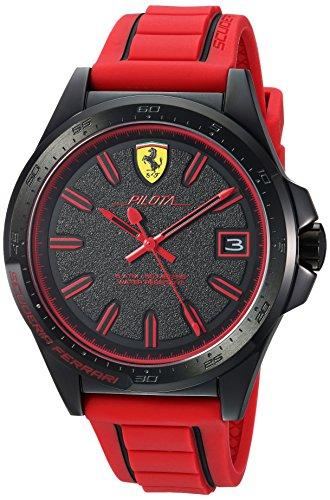 フェラーリ 腕時計 メンズ 830424 【送料無料】Ferrari Men's Pilota Stainless Steel Quartz Watch with Rubber Strap, red, 20 (Model: 830424)フェラーリ 腕時計 メンズ 830424