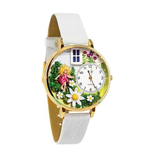 気まぐれな腕時計 かわいい プレゼント クリスマス ユニセックス 【送料無料】Daisy Fairy White Leather and Goldtone Watch #WG-G1210012気まぐれな腕時計 かわいい プレゼント クリスマス ユニセックス