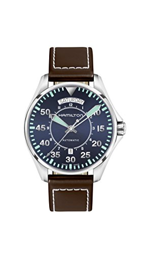 ハミルトン 腕時計 メンズ H64615545 【送料無料】Hamilton Khaki Aviation Blue Dial Leather Strap Men's Watch H64615545ハミルトン 腕時計 メンズ H64615545