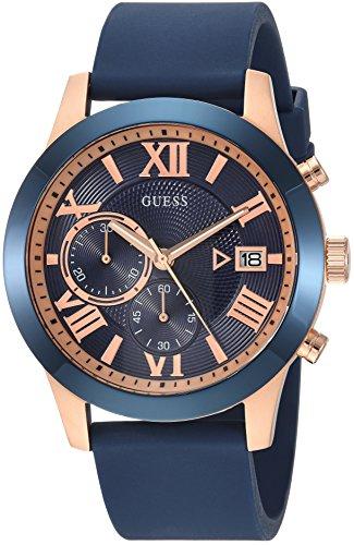 腕時計 ゲス GUESS メンズ U1055G2 【送料無料】GUESS Comfortable Iconic Blue + Rose Gold-Tone Stain Resistant Silicone Chronograph Watch with Date. Color: Blue (Model: U1055G2)腕時計 ゲス GUESS メンズ U1055G2