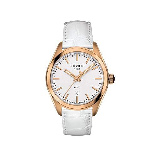 """ティソ 腕時計 レディース 【送料無料】Tissot PR100 T101.210.36.031.01 Women""""s Watch White Leather band Rose Gold Stainless Steelティソ 腕時計 レディース"""