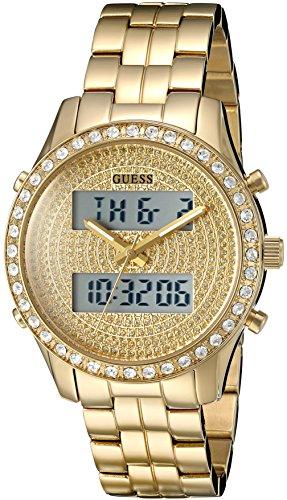 ゲス GUESS 腕時計 レディース U0817L2 【送料無料】GUESS Women's U0817L2 Trendy Gold-Tone Stainless Steel Multi-Function Watch with Digital Dial and Pilot Buckleゲス GUESS 腕時計 レディース U0817L2
