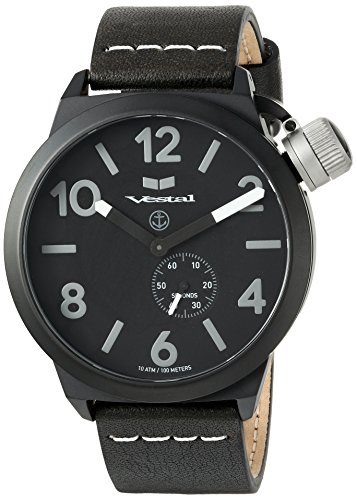 ベスタル ヴェスタル 腕時計 メンズ CNT453L06.BKWH Vestal Stainless Steel Quartz Watch with Leather Calfskin Strap, Black, 22 (Model: CNT453L06.BKWHベスタル ヴェスタル 腕時計 メンズ CNT453L06.BKWH