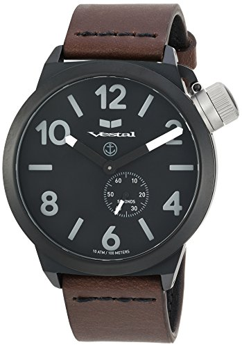 ベスタル ヴェスタル 腕時計 メンズ CNT453L06.DBBK Vestal Stainless Steel Quartz Watch with Leather Calfskin Strap, Brown, 22 (Model: CNT453L06.DBBKベスタル ヴェスタル 腕時計 メンズ CNT453L06.DBBK