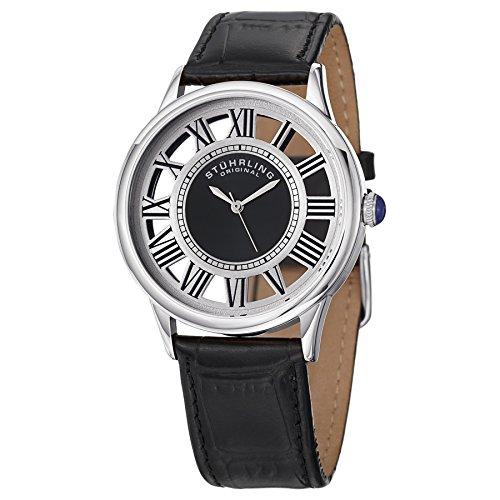 ストゥーリングオリジナル 腕時計 メンズ 890G.01 Stuhrling Original Men's 890G.01 Symphony Swiss Quartz Transparent Black Leather Watchストゥーリングオリジナル 腕時計 メンズ 890G.01