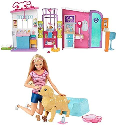 バービー バービー人形 日本未発売 プレイセット アクセサリ Bundle Includes 2 Items - Barbie Pet Care Center Playset and Barbie Newborn Pups Doll & Pets Playset, Blondeバービー バービー人形 日本未発売 プレイセット アクセサリ