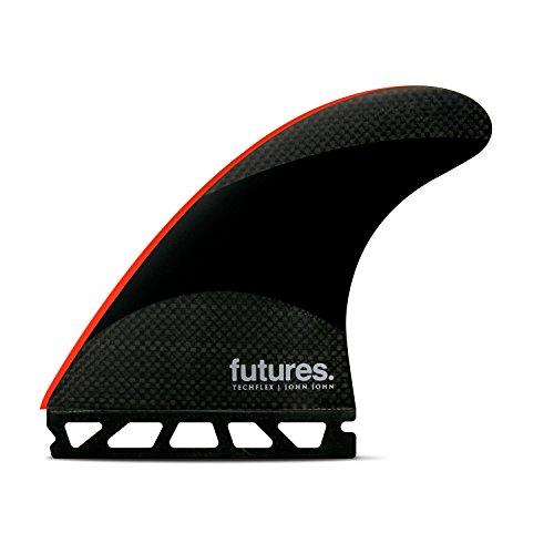 サーフィン フィン マリンスポーツ Futures Fins - JJ-2 LARGE TECHFLEX THRUSTER - BLACK/BRIGHT REDサーフィン フィン マリンスポーツ