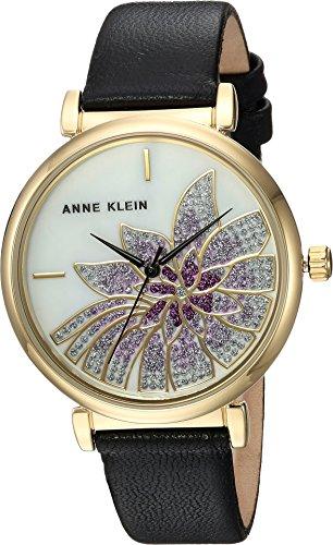 アンクライン 腕時計 レディース AK/3064MPBK Anne Klein Women's Japanese-Quartz Watch with Leather Calfskin Strap, Black, 15 (Model: AK/3064MPBKアンクライン 腕時計 レディース AK/3064MPBK