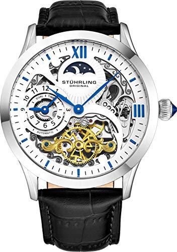 ストゥーリングオリジナル 腕時計 メンズ 571.33152 【送料無料】St?hrling Original Automatic Watch for Men Skeleton Watch Dial, Dual Time, AM/PM Sun Moon, Leather Band, 571 Mens Watches Seriesストゥーリングオリジナル 腕時計 メンズ 571.33152