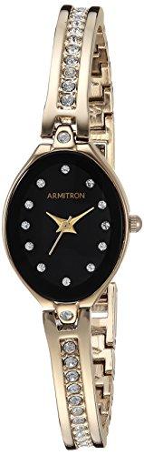 アーミトロン 腕時計 レディース 75/5243BKGP 【送料無料】Armitron Women's 75/5243BKGP Swarovski Crystal-Accented Gold-Tone Bangle Watchアーミトロン 腕時計 レディース 75/5243BKGP