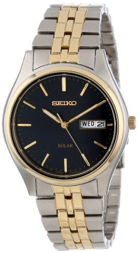 セイコー 腕時計 メンズ SNE034 Seiko Men's SNE034 Two-Tone Solar Bluish black Dial Watchセイコー 腕時計 メンズ SNE034