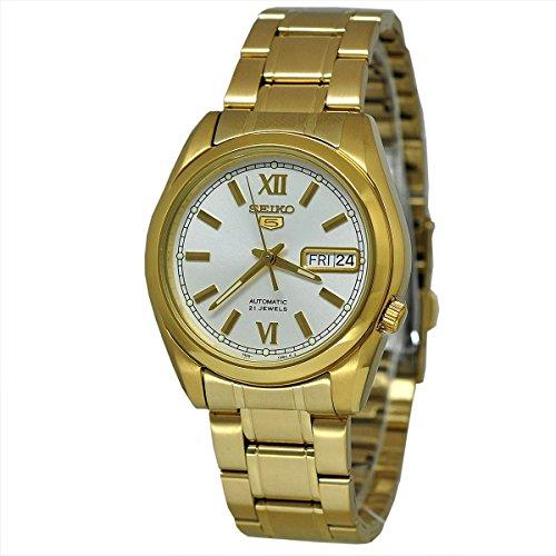 セイコー 腕時計 メンズ SNKL58K Seiko SNKL58 Mens Seiko 5 Gold Tone Stainless Steel Case and Bracelet White Tone Dial Day and Date Watchセイコー 腕時計 メンズ SNKL58K