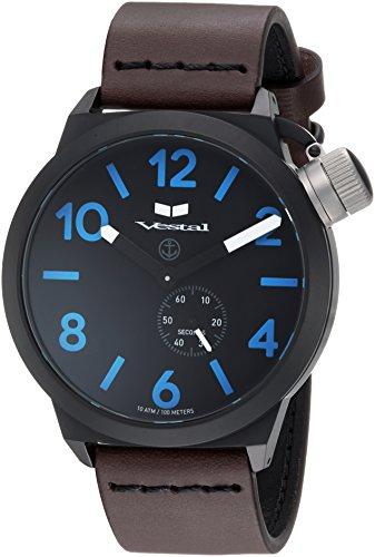 腕時計 ベスタル ヴェスタル メンズ CNT453L08.DBBK 【送料無料】Vestal Stainless Steel Quartz Watch with Leather Calfskin Strap, Brown, 22 (Model: CNT453L08.DBBK)腕時計 ベスタル ヴェスタル メンズ CNT453L08.DBBK