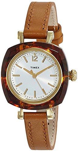 タイメックス 腕時計 レディース TIMEX NEW Helena 30mm Silver White dial resin tortoiseshell pattern brown leather strap TW2P70000 Ladiesタイメックス 腕時計 レディース