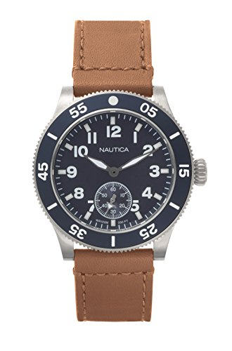腕時計 ノーティカ メンズ NAPHST001 【送料無料】Nautica Men's Houston Stainless Steel Quartz Sport Watch with Leather Calfskin Strap, Blue, 22 (Model: NAPHST001)腕時計 ノーティカ メンズ NAPHST001