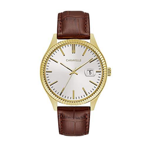 ブローバ 腕時計 メンズ 44B115 【送料無料】Caravelle Designed by Bulova Men's Stainless Steel Quartz Watch with Leather-Crocodile Strap, Brown, 20 (Model: 44B115)ブローバ 腕時計 メンズ 44B115