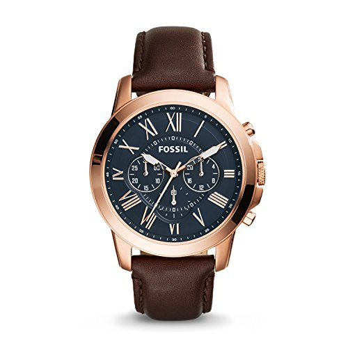 フォッシル 腕時計 メンズ FS5068 【送料無料】Fossil Men's Grant Quartz Stainless Steel and Leather Chronograph Watch Color: Rose Gold-Tone Brown (Model: FS5068)フォッシル 腕時計 メンズ FS5068