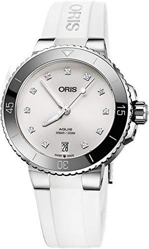 オリス 腕時計 レディース 【送料無料】Oris Aquis Date Diamond Women's Watch on White Rubber Strapオリス 腕時計 レディース