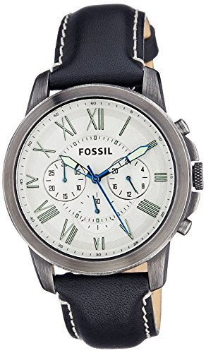 フォッシル 腕時計 メンズ FS4921 【送料無料】Fossil Men's Grant Leather Strap Watch (Silver/Black/Blue)フォッシル 腕時計 メンズ FS4921