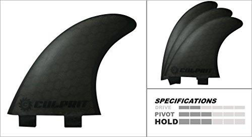 サーフィン フィン マリンスポーツ C2W Culprit Surf Honeycomb RTM FCS M3 Style Thruster Surfboard Fins - Black - C2サーフィン フィン マリンスポーツ C2W