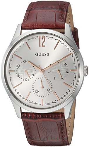 ゲス GUESS 腕時計 メンズ U1041G1 GUESS Men's Stainless Steel Multifunction Leather Casual Watch, Color: Silver-Tone/Brown (Model: U1041G1)ゲス GUESS 腕時計 メンズ U1041G1