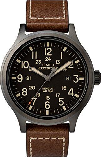 タイメックス 腕時計 メンズ TW4B11300 【送料無料】Timex Men's TW4B11300 Expedition Scout 43mm Brown/Black Leather Strap Watchタイメックス 腕時計 メンズ TW4B11300