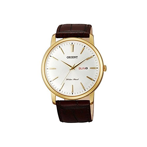 "オリエント 腕時計 メンズ FUG1R001W6 【送料無料】Orient FUG1R001W6 43mm Gold Plated Stainless Steel Case Brown Calfskin Mineral Men""s Watchオリエント 腕時計 メンズ FUG1R001W6"