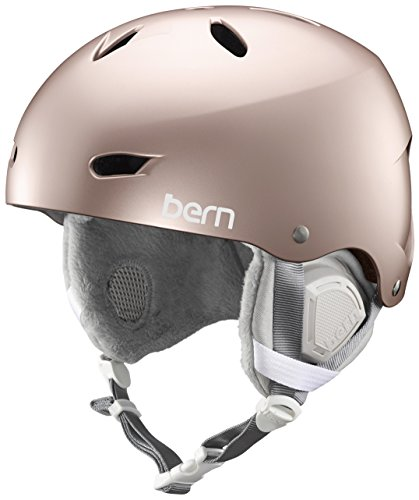 スノーボード ウィンタースポーツ 海外モデル ヨーロッパモデル アメリカモデル SW02E17SRO2 BERN - Women's Brighton EPS Snow Helmet, Satin Rose Gold with Grey Liner, Meスノーボード ウィンタースポーツ 海外モデル ヨーロッパモデル アメリカモデル SW02E17SRO2