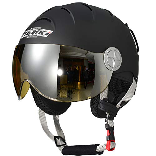 スノーボード ウィンタースポーツ 海外モデル ヨーロッパモデル アメリカモデル 【送料無料】NENKI Helmets NK-2012 Ski Helmet with Visor (Matt Black,Yellow Visor, Small 21.7-2スノーボード ウィンタースポーツ 海外モデル ヨーロッパモデル アメリカモデル