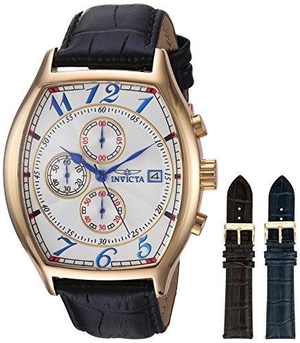 インヴィクタ インビクタ 腕時計 メンズ 14330 【送料無料】Invicta Men's 14330 Specialty 18k Yellow Gold-Plated Watch with Three Interchangeable Leather Bandsインヴィクタ インビクタ 腕時計 メンズ 14330