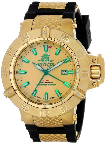 インヴィクタ インビクタ サブアクア 腕時計 メンズ 13921 【送料無料】Invicta Men's 13921 Subaqua GMT Gold Tone Enamel Dial Black Polyurethane Watchインヴィクタ インビクタ サブアクア 腕時計 メンズ 13921