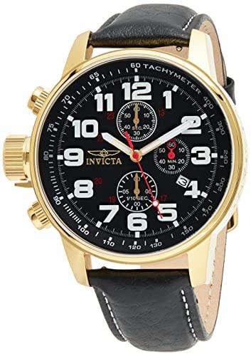 Men's Tone INVICTA-3330 Quartz インビクタ Stainless Black (Model: Black メンズ Leather フォース Strap, インヴィクタ I-Force 【送料無料】Invicta Gold with フォース メンズ Watch 3330)腕時計 Steel INVICTA-3330 インヴィクタ 腕時計 インビクタ