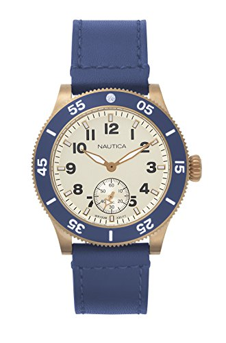 ノーティカ 腕時計 メンズ NAPHST003 Nautica Men's Houston Stainless Steel Quartz Sport Watch with Leather Calfskin Strap, Beige, 22 (Model: NAPHST003)ノーティカ 腕時計 メンズ NAPHST003