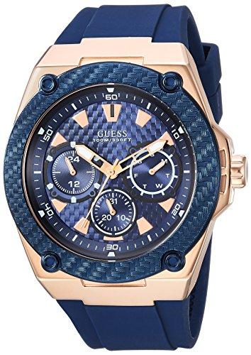 ゲス GUESS 腕時計 メンズ U1049G2 GUESS Comfortable Iconic Blue Stain Resistant Watch with Rose Gold-Tone Day, Date + 24 Hour Military/Int'l Time. Color: Blue (Model: U1049G2)ゲス GUESS 腕時計 メンズ U1049G2