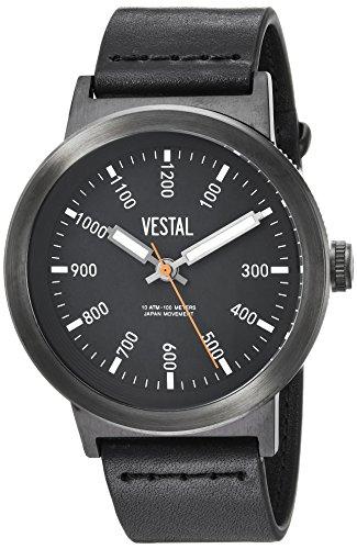 ベスタル ヴェスタル 腕時計 メンズ SLR443L03.BK Vestal Men's Retrofocus Stainless Steel Japanese-Quartz Watch with Leather Strap, Black, 22 (Model: SLR443L03.BK)ベスタル ヴェスタル 腕時計 メンズ SLR443L03.BK