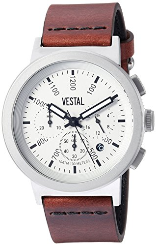 ベスタル ヴェスタル 腕時計 メンズ SLR44CL01.CVBK Vestal Stainless Steel Quartz Watch with Leather Strap, Brown, 22 (Model: SLR44CL01.CVBK)ベスタル ヴェスタル 腕時計 メンズ SLR44CL01.CVBK