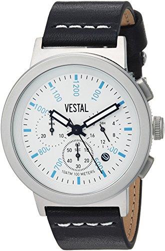 ベスタル ヴェスタル 腕時計 メンズ SLR44CL04.BKWH Vestal Stainless Steel Quartz Watch with Leather Strap, Black, 22 (Model: SLR44CL04.BKWHベスタル ヴェスタル 腕時計 メンズ SLR44CL04.BKWH