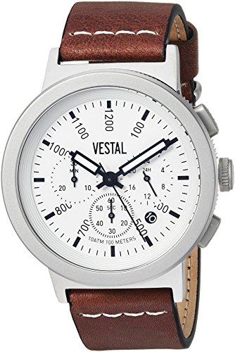 ベスタル ヴェスタル 腕時計 メンズ SLR44CL01.BRWH Vestal Stainless Steel Quartz Watch with Leather Strap, Brown, 22 (Model: SLR44CL01.BRWH)ベスタル ヴェスタル 腕時計 メンズ SLR44CL01.BRWH