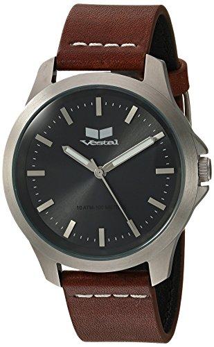 ベスタル ヴェスタル 腕時計 メンズ HEI393L16.LBWH 【送料無料】Vestal Stainless Steel Analog-Quartz Watch with Leather Strap, Brown, 18 (Model: HEI393L16.LBWH)ベスタル ヴェスタル 腕時計 メンズ HEI393L16.LBWH