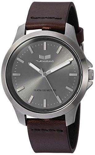 ベスタル ヴェスタル 腕時計 メンズ HEI393L15.DBBK Vestal Stainless Steel Analog-Quartz Watch with Leather Strap, Brown, 18 (Model: HEI393L15.DBBK)ベスタル ヴェスタル 腕時計 メンズ HEI393L15.DBBK