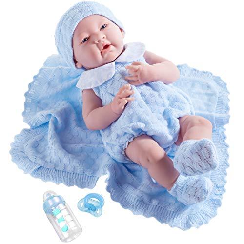 ジェーシートイズ 赤ちゃん おままごと ベビー人形 18054 JC Toys Realistic Doll with Pretty Knit Set, Blue, 15